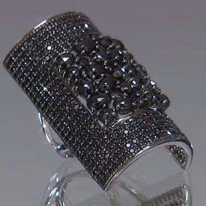 RARITIES Carol Brodie BLACK SPINEL Sterling Ring 7